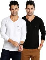 Rodid Solid Men's V-neck White, Black T-Shirt(Pack of 2)