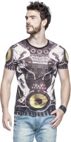 Tinted Graphic Print Mens Round Neck Multicolor T-Shirt