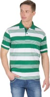 Wilkins & Tuscany Striped Mens Polo Neck Green T-Shirt