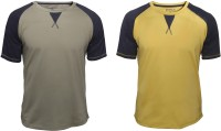 Poshuis Solid Men Round Neck Green, Yellow T-Shirt(Pack of 2)
