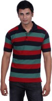 John Players Striped Mens Polo Neck Black, Green, Red T-Shirt