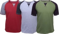 Poshuis Solid Men's Round Neck Red, Green, Grey T-Shirt(Pack of 3)