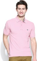 John Players Solid Men's Polo Neck Pink T-Shirt