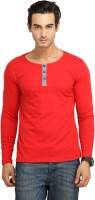Fio Solid Mens Henley Red T-Shirt