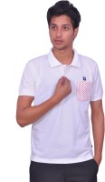 Leaf Solid Men's Polo Neck White, Red T-Shirt