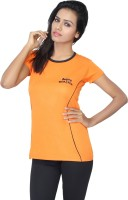 Aquamagica Solid Women's Round Neck Orange T-Shirt