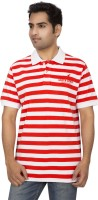 Red Line Striped Men's Polo Neck Red, White T-Shirt