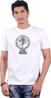 Heritage Design Printed Men's Round Neck White T-Shirt