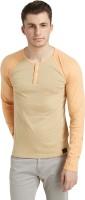 Breakbounce Solid Men's Henley Brown T-Shirt