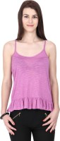 Alibi Solid Womens Round Neck Pink T-Shirt