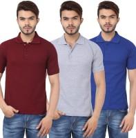 Weardo Solid Men's Polo Neck Maroon, Blue, Grey T-Shirt(Pack of 3)