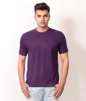 Arrow Tower Solid Men's Round Neck Purple T-Shirt