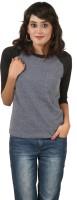 Hypernation Solid Women's Round Neck Grey, Black T-Shirt