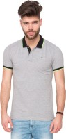 Mufti Solid Men Polo Neck Grey T-Shirt