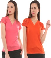Ultra Fit Solid Women's V-neck Pink, Orange T-Shirt(Pack of 2)
