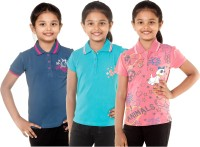 Menthol Girls Embroidered, Printed T Shirt(Multicolor)