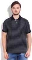 Peter England Striped Mens Polo Neck Dark Blue T-Shirt