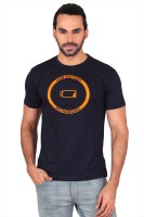 Anger Beast Printed Men's Round Neck Blue T-Shirt