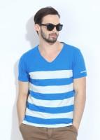 Breakbounce Striped Men's V-neck Blue, White T-Shirt
