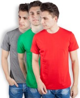 TOMO Solid Men's Round Neck Grey, Green, Red T-Shirt(Pack of 3)