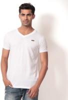 Londoner Solid Men's V-neck White T-Shirt