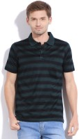 Proline Striped Men's Polo Neck Green T-Shirt
