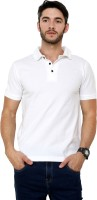 Rigo Solid Men's Polo Neck White T-Shirt