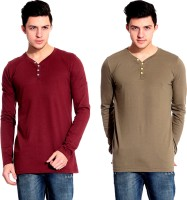 Lemon & Vodka Solid Mens Henley Maroon, Brown T-Shirt(Pack of 2)