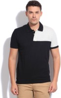 People Solid Men's Polo Neck Black T-Shirt