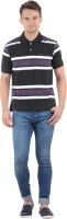Norwood Striped Men's Polo Neck Black, Purple, White T-Shirt