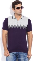 Peter England Solid Mens Polo Neck Purple T-Shirt