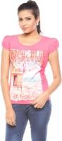 Trendy Girlz Printed Womens Round Neck Pink T-Shirt