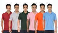 Larwa Solid Men's Polo Neck Light Blue, Dark Green, Pink, Maroon, Grey, Orange T-Shirt(Pack of 6)