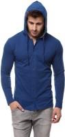 Gritstones Solid Men's Hooded Blue T-Shirt