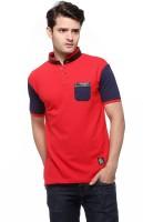 Fasnoya Solid Men's Mandarin Collar Red T-Shirt