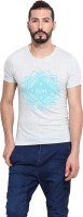 Camino Printed Mens Round Neck Grey T-Shirt