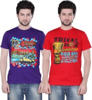 Zebu Printed Mens Round Neck Multicolor T-Shirt(Pack of 2)