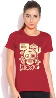 Artywear Graphic Print Women's Round Neck Red T-Shirt