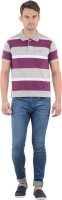 Norwood Striped Men's Polo Neck Purple, Grey, White T-Shirt