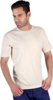 Humbert Solid Mens Round Neck Beige T-Shirt