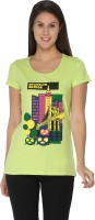 Imagica Printed Women's Round Neck Light Green T-Shirt