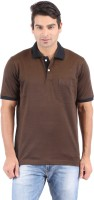Furore Solid Mens Polo Neck Brown T-Shirt
