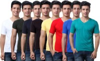 TeeMoods Solid Mens V-neck Multicolor T-Shirt(Pack of 8)