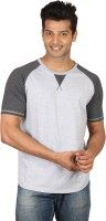Poshuis Solid Men Round or Crew Black, Grey T-Shirt