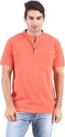 Furore Solid Mens Henley Orange T-Shirt