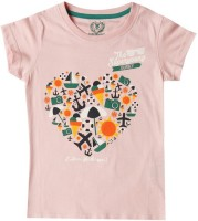 SuperYoung Printed Girls Round Neck Pink T-Shirt