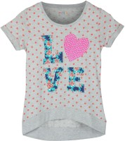 Poppers by Pantaloons Girls Printed T Shirt(Grey)