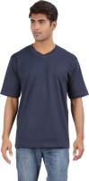 Crystal Solid Men's V-neck Dark Blue T-Shirt
