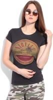 Nirvana Printed Women's Round Neck Brown T-Shirt