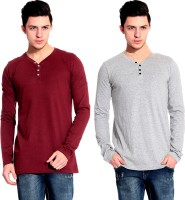 Lemon & Vodka Solid Mens Henley Maroon, Grey T-Shirt(Pack of 2)